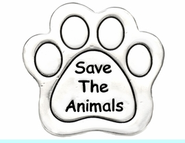 """W8766P - POLISHED SILVER FINISH<Br>  """"SAVE THE ANIMALS"""" PAW PRINT<br>           TACK PIN AS LOW AS $.95"""