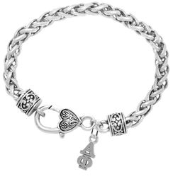 <bR>      WHOLESALE FASHION SORORITY JEWELRY  <BR>                     EXCLUSIVELY OURS!!  <BR>                AN ALLAN ROBIN DESIGN!!   <BR>               HYPOALLERGENIC - SAFE !!  <BR>          LEAD, NICKEL & CADMIUM FREE!!   <BR> W876SB1 - OFFICIAL SILVER TONE GREEK <BR> ALPHA PHI SORORITY CHARM ON HEART<Br> CLASP BRACELET FROM $5.90 TO $9.25 �2015