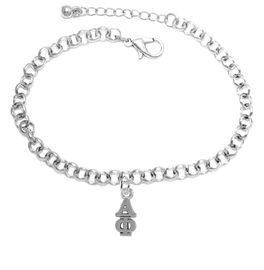 <bR>      WHOLESALE FASHION SORORITY JEWELRY  <BR>                     EXCLUSIVELY OURS!!  <BR>                AN ALLAN ROBIN DESIGN!!   <BR>               HYPOALLERGENIC - SAFE !!  <BR>          LEAD, NICKEL & CADMIUM FREE!!   <BR> W876SB2 - OFFICIAL SILVER TONE GREEK <BR> ALPHA PHI SORORITY CHARM ON LOBSTER <Br> CLASP BRACELET FROM $5.90 TO $9.25 �2015