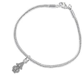 <bR>      WHOLESALE FASHION SORORITY JEWELRY  <BR>                     EXCLUSIVELY OURS!!  <BR>                AN ALLAN ROBIN DESIGN!!   <BR>               HYPOALLERGENIC - SAFE !!  <BR>          LEAD, NICKEL & CADMIUM FREE!!   <BR> W876SB7 - OFFICIAL SILVER TONE GREEK <BR> ALPHA PHI SORORITY CHARM ON SNAKE <Br> CHAIN BRACELET FROM $5.90 TO $9.25 �2015