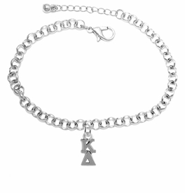 <BR> WHOLESALE FASHION SORORITY JEWELRY <BR> EXCLUSIVELY OURS!! <BR> AN ALLAN ROBIN DESIGN!! <BR>               HYPOALLERGENIC - SAFE !!     <BR>          LEAD, NICKEL & CADMIUM FREE!!    <BR>    W880B2 - OFFICIAL SILVER TONE GREEK  <BR>   KAPPA DELTA SORORITY CHARM ON LOBSTER <Br> CLASP BRACELET FROM $5.90 TO $9.25 �2015