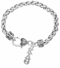 <BR> WHOLESALE FASHION SORORITY JEWELRY <BR> EXCLUSIVELY OURS!! <BR> AN ALLAN ROBIN DESIGN!! <BR>               HYPOALLERGENIC - SAFE !!     <BR>          LEAD, NICKEL & CADMIUM FREE!!    <BR>    W882B1 - OFFICIAL SILVER TONE GREEK  <BR>KAPPA ALPHA THETA SORORITY CHARM ON HEART LOBSTER <Br> CLASP BRACELET FROM $5.90 TO $9.25 �2015
