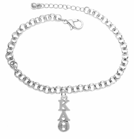 <BR> WHOLESALE FASHION SORORITY JEWELRY <BR> EXCLUSIVELY OURS!! <BR> AN ALLAN ROBIN DESIGN!! <BR>               HYPOALLERGENIC - SAFE !!     <BR>          LEAD, NICKEL & CADMIUM FREE!!    <BR>    W882B2 - OFFICIAL SILVER TONE GREEK  <BR>KAPPA ALPHA THETA SORORITY CHARM ON LOBSTER <Br> CLASP BRACELET FROM $5.90 TO $9.25 �2015