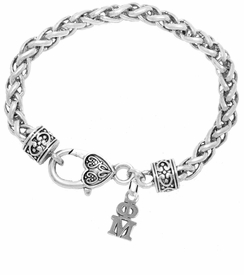 <BR> WHOLESALE FASHION SORORITY JEWELRY <BR> EXCLUSIVELY OURS!! <BR> AN ALLAN ROBIN DESIGN!! <BR>               HYPOALLERGENIC - SAFE !!     <BR>          LEAD, NICKEL & CADMIUM FREE!!    <BR>    W885B1 - OFFICIAL SILVER TONE GREEK  <BR>   PHI MU SORORITY CHARM ON HEART LOBSTER <Br> CLASP BRACELET FROM $5.90 TO $9.25 �2015