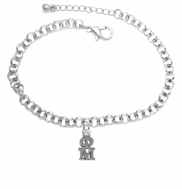 <BR> WHOLESALE FASHION SORORITY JEWELRY <BR> EXCLUSIVELY OURS!! <BR> AN ALLAN ROBIN DESIGN!! <BR>               HYPOALLERGENIC - SAFE !!     <BR>          LEAD, NICKEL & CADMIUM FREE!!    <BR>    W885B2 - OFFICIAL SILVER TONE GREEK  <BR>   PHI MU SORORITY CHARM ON LOBSTER <Br> CLASP BRACELET FROM $5.90 TO $9.25 �2015