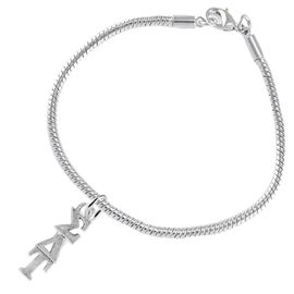 <bR>       WHOLESALE FASHION SORORITY JEWELRY     <BR>                       EXCLUSIVELY OURS!!     <BR>                  AN ALLAN ROBIN DESIGN!!      <BR>                 HYPOALLERGENIC - SAFE !!     <BR>            LEAD, NICKEL & CADMIUM FREE!!      <BR>      W889B7 - OFFICIAL SILVER TONE GREEK    <BR>  SIGMA DELTA TAU SORORITY CHARM ON SNAKE <Br> CHAIN BRACELET FROM $5.90 TO $9.25 �2015