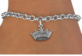 <br>WHOLESALE ROYAL FASHION BRACELET  <bR>              EXCLUSIVELY OURS!! <BR>         AN ALLAN ROBIN DESIGN!! <BR>CLICK HERE TO SEE 1000+ EXCITING <BR>      CHANGES THAT YOU CAN MAKE! <BR>   CADMIUM, LEAD & NICKEL FREE!! <BR>    W902SB - DARK SILVER TONE  <Br>DETAILED CROWN CHARM & BRACELET  <BR>    FROM $4.50 TO $8.35 �2013