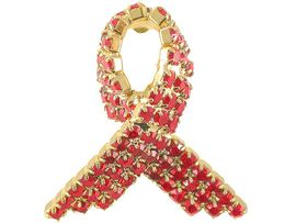 <BR> W904P - RED AWARENESS PIN<BR> GENUINE SWAROVSKI CRYSTAL<BR>                AS LOW AS $6.75