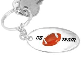 """<Br>     W9211KC - """"GO TEAM"""" 3-D FOOTBALL<br>SILVER FINISH KEY CHAIN AS LOW AS $2.50<br>     EXCLUSIVELY OURS! WE ARE THE ONLY<Br>                           MANUFACTURER!"""