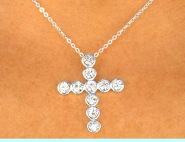 W9238N - POLISHED SILVER FINISH<br>   AUSTRIAN CRYSTAL CROSS DROP<Br>    NECKLACE FROM $3.25 TO $7.50