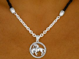"<bR>   W9266NE - BLACK LEATHERLIKE CORD<Br>& ""BRONCO RIDING"" PENDANT NECKLACE<Br>          & EARRING SET AS LOW AS $4.95"