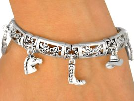 "<bR>  W9268B - POLISHED SILVER FINISH<Br>""COWGIRL"" MAGNETIC CLASP CHARM<Br>      BRACELET FROM $7.31 TO $16.25"