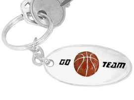 """W9284KC - """"GO TEAM"""" 3-D BASKETBALL<br>                  SILVER FINISH KEY CHAIN<br>                             AS LOW AS $1.99<br>     EXCLUSIVELY OURS! WE ARE THE ONLY<Br>                           MANUFACTURER!"""
