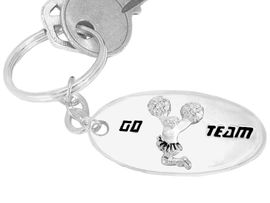 """<bR>          W9285KC - """"GO TEAM"""" 3-D<br>          CHEERLEADER SILVER FINISH<br>           KEY CHAIN AS LOW AS $1.99<br>EXCLUSIVELY OURS! WE ARE THE ONLY<Br>                        MANUFACTURER!"""
