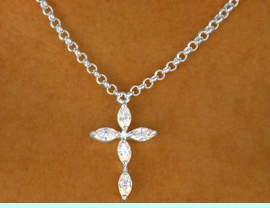 W9309NE - GORGEOUS AUSTRIAN CRYSTAL<Br>     CROSS NECKLACE & HYPOALLERGENIC<Br>                 TITANIUM POST EARRINGS<Br>                     FROM $8.85 TO $12.50