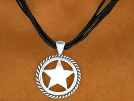 "W9346NE - JET BLACK MULTI-STRAND<Br>SILVER TONE ""LONESTAR"" MEDALLION<Br>             NECKLACE & EARRING SET<BR>                       AS LOW AS $3.05"