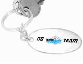 """<bR> W9409KC - """"GO TEAM"""" 3-D SWIMMING<br>SILVER TONE KEY CHAIN AS LOW AS $1.99<br>   EXCLUSIVELY OURS! WE ARE THE ONLY<Br>                 MANUFACTURER! �2005"""