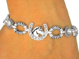 <br>  W9446B - SILVER FINISH CLEAR<Br>AUSTRIAN CRYSTAL HORSESHOE &<br>    HORSE HEAD MAGNETIC CLASP<Br>  BRACELET FROM $5.63 TO $12.50
