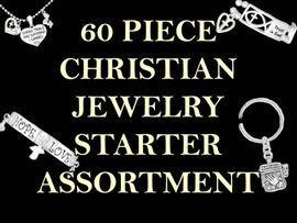 <bR>W9455JA - 60 PIECE CHRISTIAN JEWELRY<br>                  STARTER ASSORTMENT!<BR>         YOUR LOW PRICE ONLY $278.33