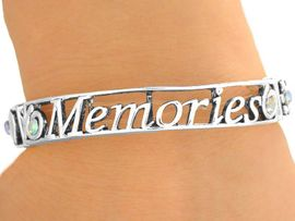 "<bR>  W9505B - POLISHED SILVER TONE<bR>""MEMORIES, CHERISH, CELEBRATE""<br>          STRETCH BRACELET FROM<BR>                       $3.35 TO $7.50"