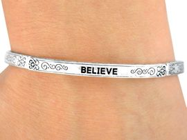 "<bR>     W9531B - POLISHED SILVER FINISH<Br>""BELIEVE"" FILIGREE STRETCH BRACELET<Br>                     FROM $3.35 TO $7.50"