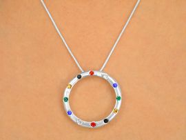 "W9572NE - POLISHED SILVER TONE<br>  CRYSTAL ""CIRCLE OF SALVATION""<Br>         NECKLACE & EARRING SET<br>             FROM $5.85 TO $10.00"