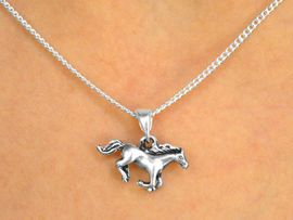 """W9589NE - CHILDREN'S SILVER FINISH<BR> LEAD & NICKEL FREE """"RUNNING FREE""""<Br>     HORSE NECKLACE & EARRING SET<Br>                      AS LOW AS $2.95"""