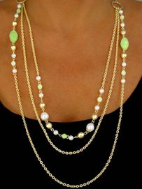 <bR>  W9623NE -  MATTE GOLD FINISH<br>TRIPLE-CHAIN JADE COLOR BEAD &<Br>FAUX PEARL NECKLACE & EARRING<Br>               SET AS LOW AS $8.85