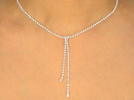 W9630NE - GENUINE AUSTRIAN CRYSTAL<br>  THIN DANGLE NECKLACE & EARRINGS<br>       YOUR LOW PRICE IS ONLY $21.94