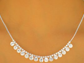W9663NE - ELEGANT SILVER FINISH<BR> GENUINE AUSTRIAN CRYSTAL DROP<br>           NECKLACE & EARRING SET<br>    YOUR LOW PRICE IS ONLY $8.13