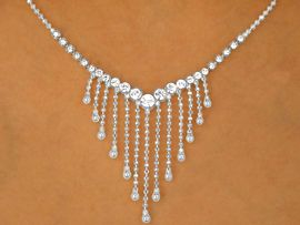 W9683NE - STUNNING AUSTRIAN CRYSTAL<br>   CHEVRON & CASCADING BALL CHAINS<Br>                    NECKLACE & EARRINGS<br>         YOUR LOW PRICE IS ONLY $8.13