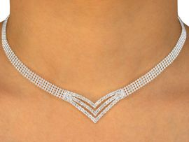 <br>  W9692NE - SILVER FINISH TRIPLE-ROW<br>         BALL CHAIN &  AUSTRIAN CRYSTAL<br>TRIPLE-CHEVRON NECKLACE & EARRINGS<br>          YOUR LOW PRICE IS ONLY $23.56
