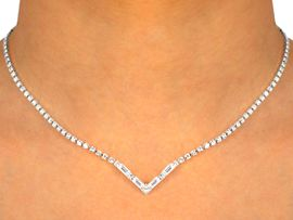 W9732NE - GLITTERING AUSTRIAN CRYSTAL<br>  CHEVRON CENTER NECKLACE & EARRINGS<Br>               YOUR LOW PRICE ONLY $15.44