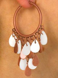 W9798EA - 3-STYLE COPPER TONE<br>    GENUINE SHELL DROP EARRING<br>   ASSORTMENT AS LOW AS $5.60