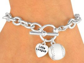 "W9874B - EXCLUSIVELY OURS!!<Br>         POLISHED SILVER TONE<bR>      ""LITTLE LEAGUE"" HEART &<Br>   BASEBALL TOGGLE BRACELET<Br>           FROM $3.60 TO $8.00"