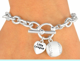 """W9874B - EXCLUSIVELY OURS!!<Br>         POLISHED SILVER TONE<bR>      """"LITTLE LEAGUE"""" HEART &<Br>   BASEBALL TOGGLE BRACELET<Br>           FROM $3.60 TO $8.00"""