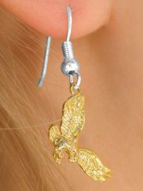 <Br>         W9876E - EXCLUSIVELY OURS!!<Br>    TWO-TONE GOLDEN EAGLE, FALCON,<BR>HAWK DROP EARRINGS AS LOW AS $1.95