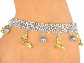 <Br>      W9877B - EXCLUSIVELY OURS!!<Br> SILVER TONE TRIPLE-CHAIN BALL &<Br>  GOLDEN EAGLE, FALCON, OR HAWK<BR>    BRACELET FROM $5.63 TO $12.50