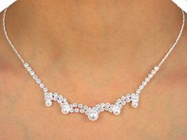 W9921NE - POLISHED SILVER TONE<Br> AUSTRIAN CRYSTAL & FAUX PEARL<br>          NECKLACE & EARRING SET<bR>          YOUR LOW PRICE IS $11.38
