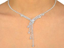 W9927NE - GENUINE SWAROVSKI CRYSTAL<br>     ANGLED DROP NECKLACE & EARRINGS<Br>                   YOUR LOW PRICE IS $15.44