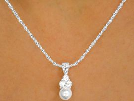 W9963NE - SILVER TONE ROPE CHAIN<br> FLEUR-DE-LIS AUSTRIAN CRYSTAL &<Br>   FAUX PEARL NECKLACE & EARRING<br>             YOUR LOW PRICE IS $4.90