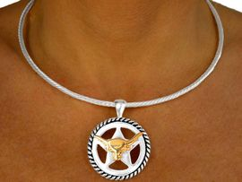 "<bR>W9972NE - TWO-TONE ""LONGHORN""<Br>   COLLAR NECKLACE & EARRING SET<Br>                       AS LOW AS $5.60"