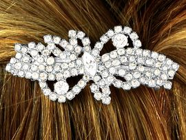 W9979HJ - GENUINE AUSTRIAN CRYSTAL<br>                 WAVY RIBBON HAIR CLIP<bR>         YOUR LOW PRICE IS ONLY $7.31