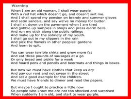 """WARNING"" BY JENNY JOSEPH<BR>  CLICK PICTURE TO ENLARGE,<BR>           THEN CLICK AGAIN!"