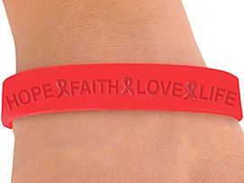 """<BR>WHOLESALE AIDS / HIV AWARENESS JEWELRY<BR>W4321JB - ORIGINAL """"HOPE, FAITH, LOVE,<BR>        LIFE"""" RED AWARENESS JELLY BAND<BR>    BRACELET&#169;2004 FROM $.29 TO $5.00<BR>"""