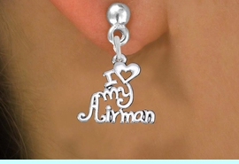 """<br>    WHOLESALE AIR FORCE EARRINGS <bR>                 EXCLUSIVELY OURS!! <BR>            AN ALLAN ROBIN DESIGN!! <BR>      CADMIUM, LEAD & NICKEL FREE!! <BR>    W1501SE - BEAUTIFUL SILVER TONE <Br>  """"I LOVE MY AIRMAN"""" CHARM EARRINGS <BR>          FROM $3.65 TO $8.40 �2013"""