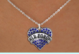 """<BR>       WHOLESALE AIR FORCE JEWELRY <bR>                   EXCLUSIVELY OURS!! <Br>              AN ALLAN ROBIN DESIGN!! <BR>     CLICK HERE TO SEE 1000+ EXCITING <BR>           CHANGES THAT YOU CAN MAKE! <BR>        LEAD, NICKEL & CADMIUM FREE!! <BR> W1477SN - SILVER TONE """"AIR FORCE"""" BLUE <BR>     CRYSTAL HEART CHARM AND NECKLACE <BR>            FROM $5.40 TO $9.85 �2013"""