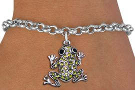 <BR>  WHOLESALE ANIMAL CHARM BRACELET <bR>                EXCLUSIVELY OURS!! <Br>           AN ALLAN ROBIN DESIGN!! <BR>  CLICK HERE TO SEE 1000+ EXCITING <BR>        CHANGES THAT YOU CAN MAKE! <BR>     LEAD, NICKEL & CADMIUM FREE!! <BR> W1442SB - SILVER TONE, JET AND LIME <BR> GREEN CRYSTAL FROG CHARM & BRACELET <BR>         FROM $5.40 TO $9.85 �2013