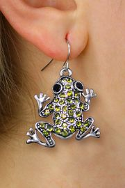 <BR>       WHOLESALE ANIMAL JEWELRY <bR>              EXCLUSIVELY OURS!! <Br>         AN ALLAN ROBIN DESIGN!! <BR>   LEAD, NICKEL & CADMIUM FREE!! <BR>  W1442SE - SILVER TONE WITH LIME <BR> GREEN CRYSTAL FROG CHARM EARRINGS <BR>      FROM $5.40 TO $10.45 �2013