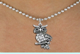 <BR>   WHOLESALE ANIMAL NECKLACE JEWELRY <bR>                   EXCLUSIVELY OURS!! <Br>              AN ALLAN ROBIN DESIGN!! <BR>     CLICK HERE TO SEE 1000+ EXCITING <BR>           CHANGES THAT YOU CAN MAKE! <BR>        LEAD, NICKEL & CADMIUM FREE!! <BR>   W1510SN - ANTIQUED SILVER TONE AND <BR>    AUSTRIAN CLEAR CRYSTAL OWL CHARM  <BR>    NECKLACE FROM $5.40 TO $9.85 �2013